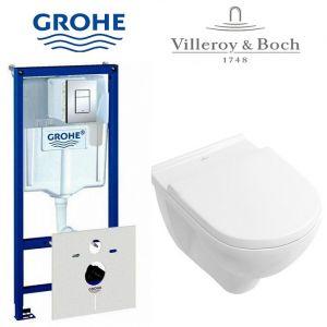 Инсталляция Grohe Rapid (4-в-1) с унитазом Villeroy&Boch O.Novo и крышкой SoftClose