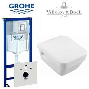 Инсталляция Grohe Rapid (4-в-1) с унитазом Villeroy&Boch Omnia Architectura и крышкой SoftClose