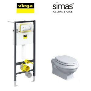 Инсталляция Viega Prevista Dry кнопка Life 6 с унитазом Simas Arcade + крышка SoftClose