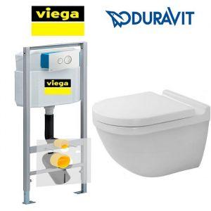 Инсталляция Viega Eco (4-в-1) с унитазом Duravit Starck и крышкой SoftClose