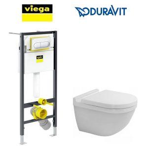 Инсталляция Viega Prevista Dry кнопка Life 6 с унитазом Duravit Starck и крышкой SoftClose