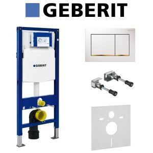 Инсталляция Geberit Duofix (3-в-1) в комплекте с клавишей Sigma 30, белая/золото
