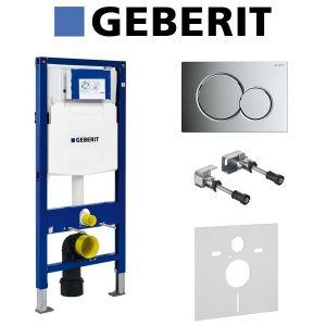 Инсталляция Geberit Duofix (3-в-1) в комплекте с клавишей Sigma 01, хром/глянцевый
