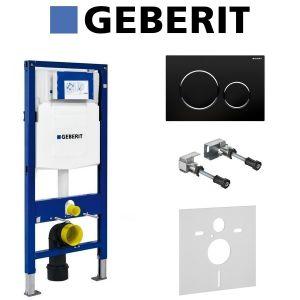Инсталляция Geberit Duofix (3-в-1) в комплекте с клавишей Sigma 20, черный/хром