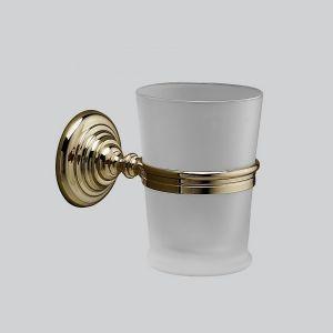 Стеклянный стакан для зубных щёток с держателем Devon&Devon Chelsea (цвет - светлое золото/стекло матовое)