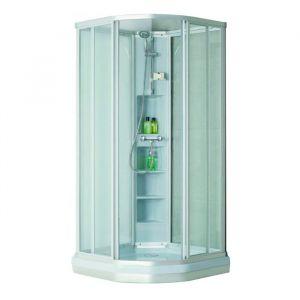 Душевая кабина Eger Sharkeza 90 х 90 х h190 см (профиль сатин, стекло матовое/прозраное) с поддоном и сифоном