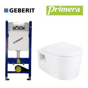 Инсталляция Geberit Duofix (4-в-1) комплект 458.121.21.1 с унитазом Primera Grand с крышкой SoftClose