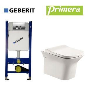 Инсталляция Geberit Duofix (4-в-1) комплект 458.121.21.1 с унитазом Primera Nika с крышкой SoftClose