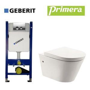 Инсталляция Geberit Duofix (4-в-1) комплект 458.121.21.1 с унитазом Primera Topic с крышкой SoftClose
