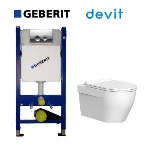 Инсталляция Geberit Duofix (4-в-1) комплект 458.161.21.1 с унитазом Primera Topic с крышкой SoftClose