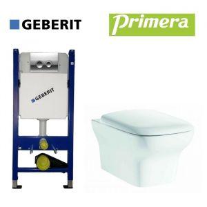 Инсталляция Geberit Duofix (4-в-1) комплект 458.121.21.1 с унитазом Primera Tyrol Clean Pro с крышкой SoftClose