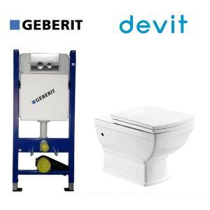 Инсталляция Geberit Duofix (4-в-1) комплект 458.121.21.1 с унитазом Devit Retro и крышкой SoftClose