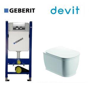Инсталляция Geberit Duofix (4-в-1) комплект 458.121.21.1 с унитазом Devit Afina Clean Pro и крышкой SoftClose