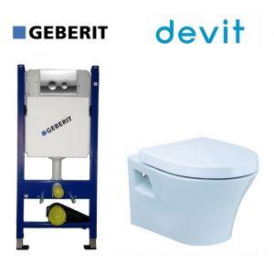 Инсталляция Geberit Duofix (4-в-1) комплект 458.121.21.1 с унитазом Devit Gredos и крышкой SoftClose