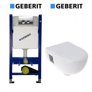 Инсталляция Geberit Duofix (4-в-1) комплект 458.121.21.1 с унитазом Geberit Smyle и крышкой SoftClose