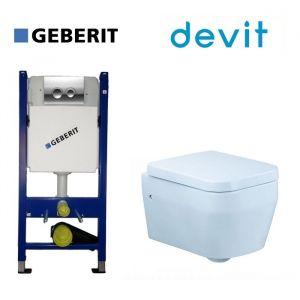 Инсталляция Geberit Duofix (4-в-1) комплект 458.121.21.1 с унитазом Devit Optima и крышкой SoftClose