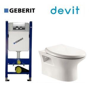 Инсталляция Geberit Duofix (4-в-1) комплект 458.121.21.1 с унитазом Devit Aurora 2.0 и крышкой SoftClose