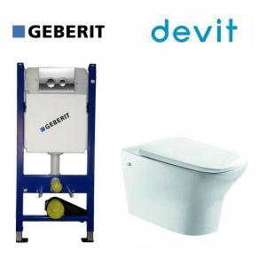 Инсталляция Geberit Duofix (4-в-1) комплект 458.121.21.1 с унитазом Devit Iven и крышкой SoftClose