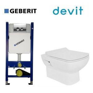 Инсталляция Geberit Duofix (4-в-1) комплект 458.121.21.1 с унитазом Devit Comfort и крышкой SoftClose