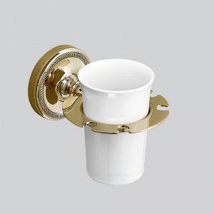 Держатель для зубных щёток с керамическим стаканом (цвет - светлое золото / белый)
