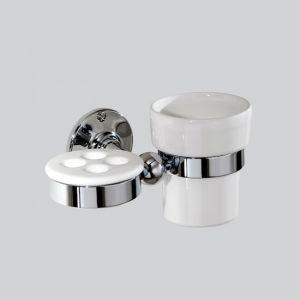 Керамический стакан с держателем Devon&Devon Cavendish (цвет - хром/белый)