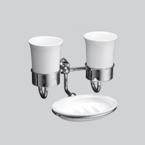 Керамический двойной стакан для зубных щёток с держателем и мыльницей Devon&Devon First Class (цвет - хром/белый)