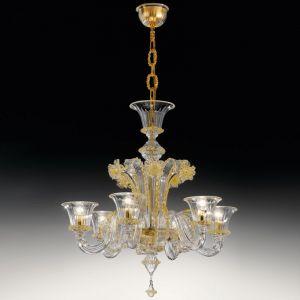 Люстра De Majo (цвет стекла - прозрачный c золотым декором)