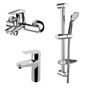 Набор смесителей для раковины, для ванны, ручной душ, мыльница, штанга Volle Benita / Nemo (цвет - хром)