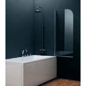 """Шторка для ванной Devit Quest 750 х 1400 (профиль хром, стекло """"Шиншилла"""")"""