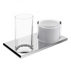 Двойной держатель со стаканом и дозатором жидкого мыла Keuco Edition 400