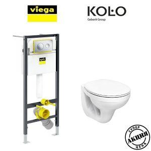 Инсталляция Viega Prevista Dry кнопка Style 20 с унитазом Kolo Idol M1310002 + (сиденье Soft Close)