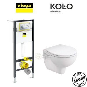 Инсталляция Viega Prevista Dry кнопка Style 20 с унитазом Kolo Idol M1310002 + (сиденье SoftClose)