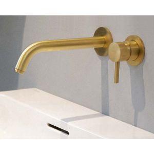 Настенный смеситель для раковины Graff M.E. (цвет - BAU матовое золото), излив 19 см