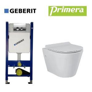 Инсталляция Geberit Duofix (4-в-1) комплект 458.121.21.1 с унитазом Primera Topic с крышкой SoftClose (безободковый)
