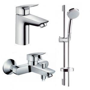 Набор смесителей для ванны 3-в-1 Hansgrohe Logis 100/Croma-100 Vario (цвет - хром)