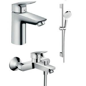Набор смесителей для ванны 3-в-1 Hansgrohe Logis 100/Crometta-100 1jet (цвет - хром)
