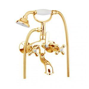 Смеситель для ванны Fiore Margot (цвет - керамика/золото), с ручным душем