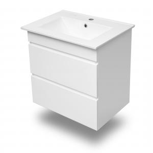 Комплект мебели тумба подвесная белая (2 ящика) + раковина накладная Volle Fiesta