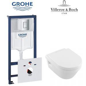 Инсталляция Grohe Rapid SL (4-в-1) комплект 38772001 с унитазом Villeroy & Boch Architecture 5684HR01 + сиденье Soft Close