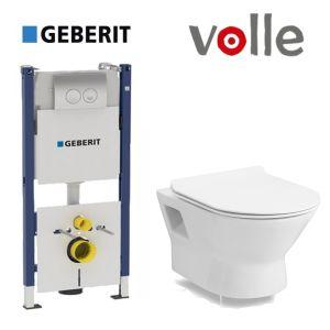 Инсталляция Geberit Duofix (3-в-1) комплект 458.126.00.1 с унитазом Volle Fiesta Rim 13-77-034 + сиденье Soft Close