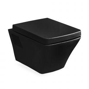 Унитаз повесной Volle Teo с сиденьем Soft Close, чёрный глянцевый