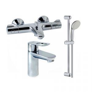 Набор смесителей для ванны с термостатом 4-в-1 Grohe Grohetherm 800/Bau Edge (цвет - хром/белый)