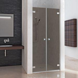 """Распашная дверь в нишу из 2 частей DuschoLux Collection 2 (профиль - серебро, стекло - """"Carbon"""" тонированное с CareTec)"""