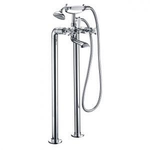 Смеситель напольный для ванны Imprese Cuthna (цвет - серебряный), с душевым гарнитуром