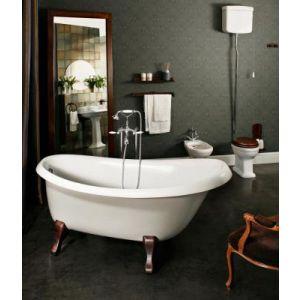 Ванна из материала SilkSTONE PAA Victoria Silk 170 × 83 × 61 см, ножки WOODEN - дерево