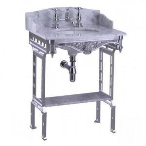 Раковина подвесная Burlington 65 x 57,5 см, с ножками полированный алюминий и полкой