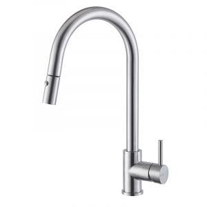 Смеситель кухонный c поворотным изливом и выдвижным душем Newform Real Steel (цвет - нержавеющая сталь)