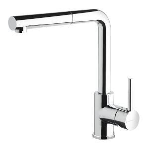 Смеситель кухонный с поворотным изливом и выдвижным душем Newform Real (цвет - хром)