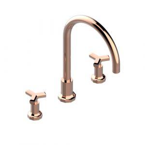 Смеситель на борт ванны THG Les Ondes (цвет - розовое золото)