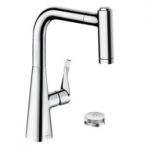 Кухонный смеситель Hansgrohe Metris Select M71, с вытяжным душем (цвет - хром)
